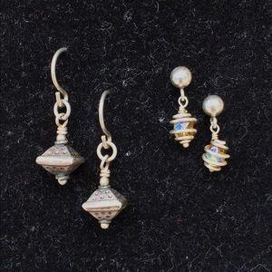 Vintage 2 Pair of Sterling Earrings